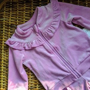 Pink velour two piece outfit